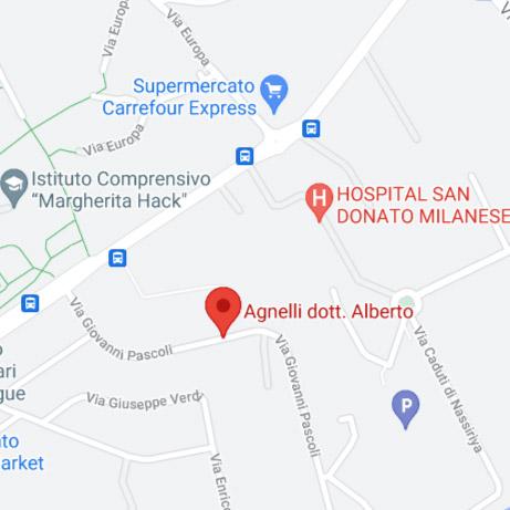 Mappa dello studio di San Donato Milanese del Dr. Alberto Agnelli